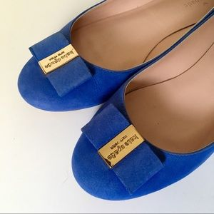 Kate Spade royal blue ballet flats with bow S:8